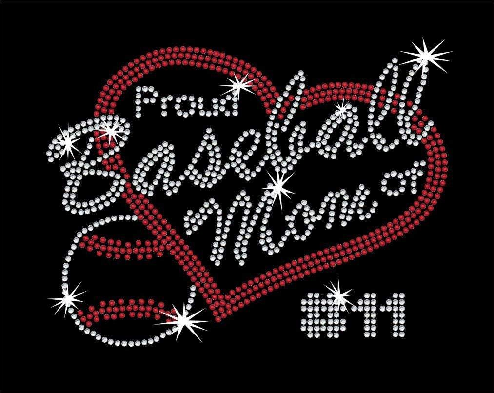 Proud Baseball Mom with Custom Number GetTShirty