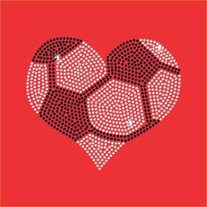 Soccer Heart Rhinestone Transfer - Iron on - 2 color GetTShirty