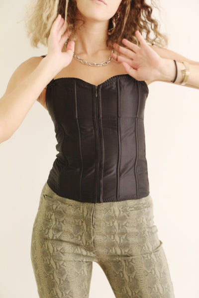 Zip Me Up Black Bustier