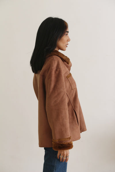 Vintage Pecan Fur Lined Coat