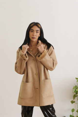 Vintage Soft Beige Fur-Lined Coat