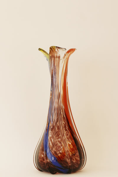 Vintage Italian Murano Multi Coloured Crystal Glass Vase