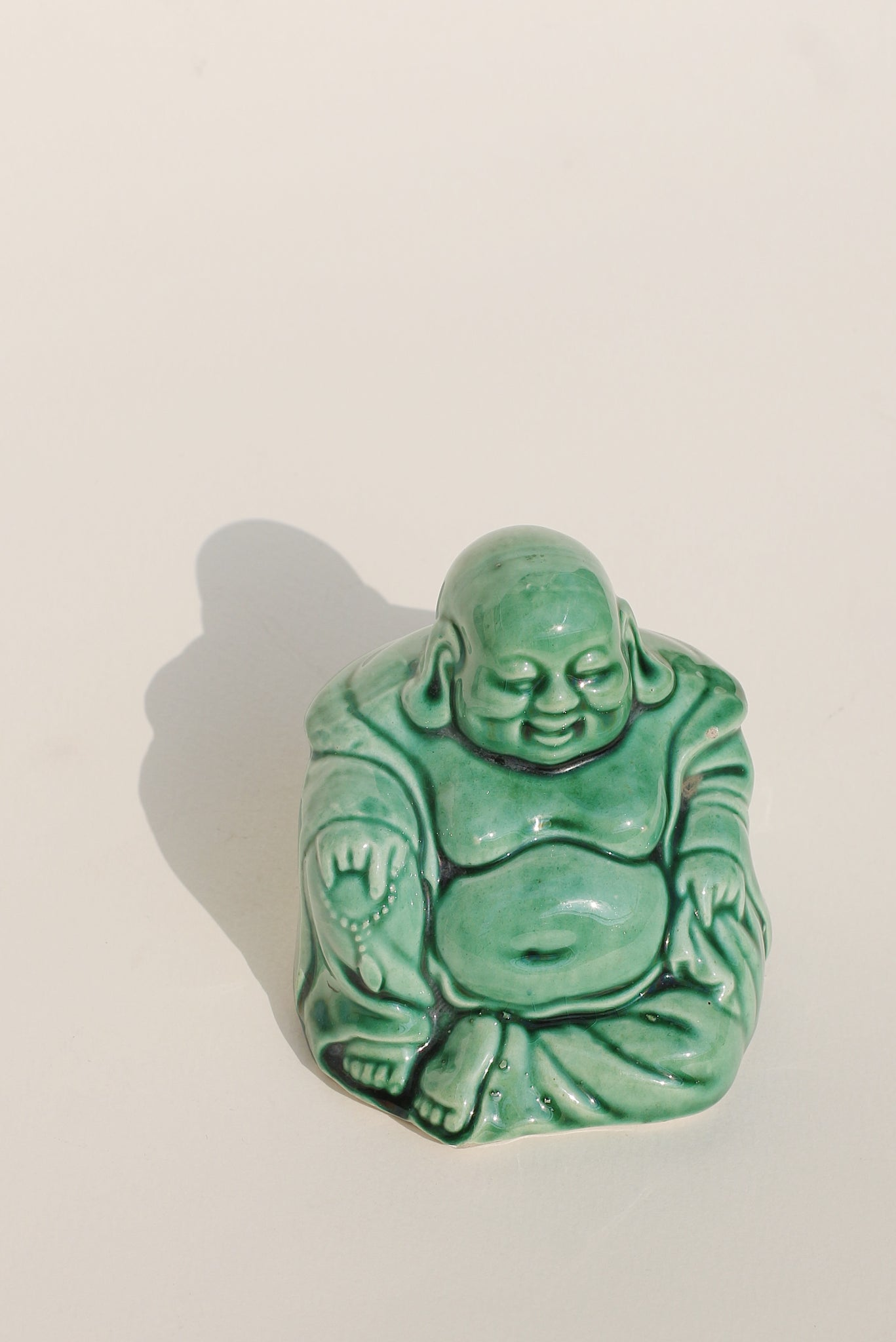 Mini Porcelain Green Buddha