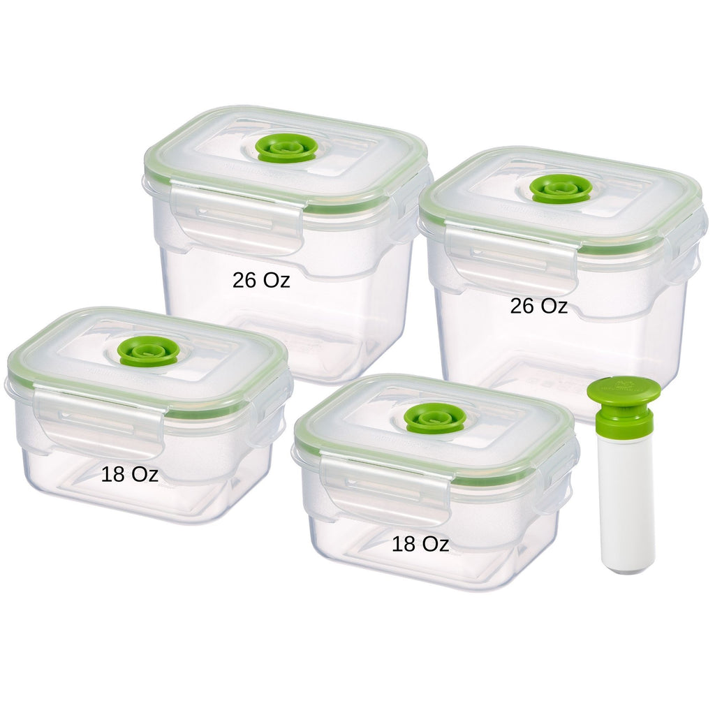 9 pc Vacuum Seal Food Storage Container Set | Hand Held Vacuum Food System | Deep Freezer Food Storage Sealer | Quick Seal Marinator | Rectangular | Green Color - Lasting Freshness