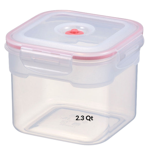 75 Oz - 2.2 L - 2.3 Qt | Vacuum Seal Food Storage Container with Lid | Hand Held Vacuum Food System | Deep Freezer Food Storage Sealer | Quick Seal Marinator | Square | Coral  Color