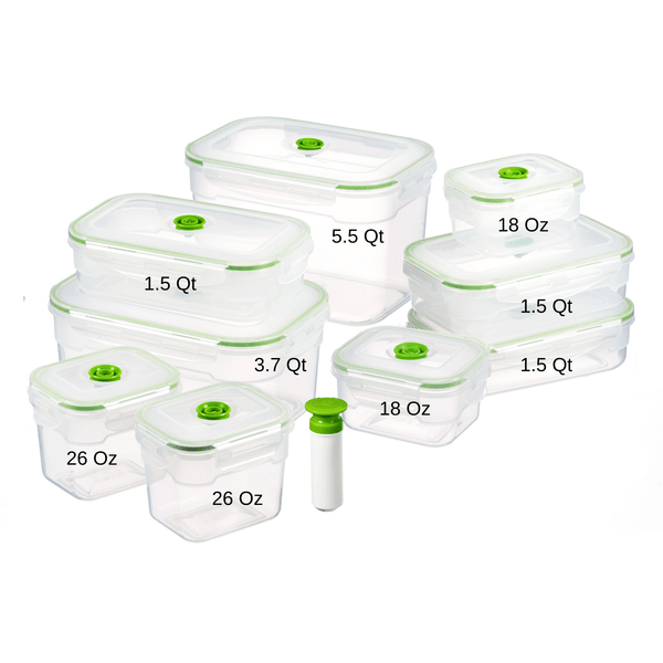 19 pc Vacuum Seal Food Storage Container Set | Hand Held Vacuum Food System | Deep Freezer Food Storage Sealer | Quick Seal Marinator | Rectangular | Green Color - Lasting Freshness