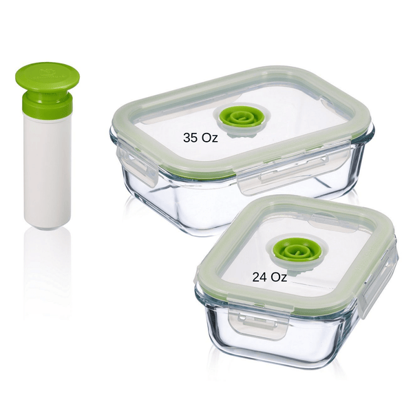 5 pc Glass Vacuum Seal Food Storage Container Set | Hand Held Vacuum Food System | Deep Freezer Food Storage Sealer | Quick Seal Marinator | Rectangular | Small | Green Color - Lasting Freshness