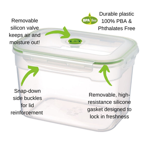11 pc Vacuum Seal Food Storage Container Set | Hand Held Vacuum Food System | Deep Freezer Food Storage Sealer | Quick Seal Marinator | Rectangular | Green Color - Lasting Freshness