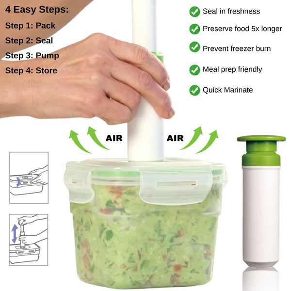 19 pc Vacuum Seal Food Storage Container Set | Hand Held Vacuum Food System | Deep Freezer Food Storage Sealer | Quick Seal Marinator | Rectangular