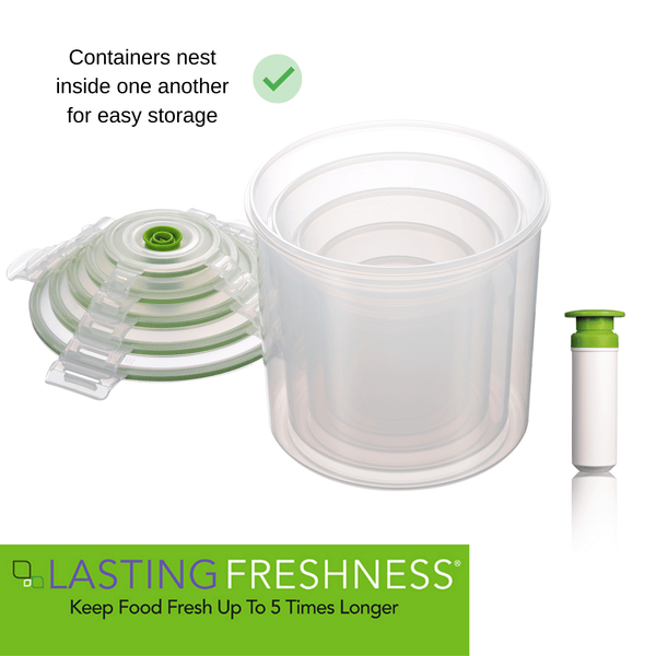11 pc Vacuum Seal Food Storage Container Set | Hand Held Vacuum Food System | Deep Freezer Food Storage Sealer | Quick Seal Marinator| Canister Cylinder - Lasting Freshness