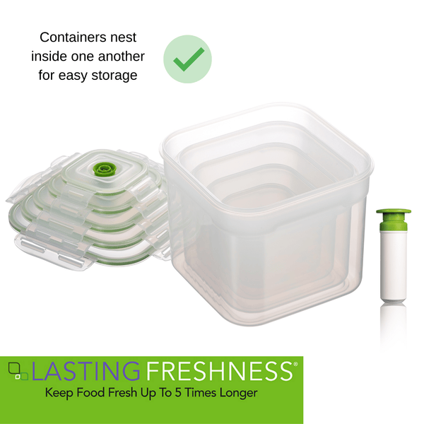 11 pc Vacuum Seal Food Storage Container Set | Hand Held Vacuum Food System | Deep Freezer Food Storage Sealer | Quick Seal Marinator | Square | Green Color - Lasting Freshness