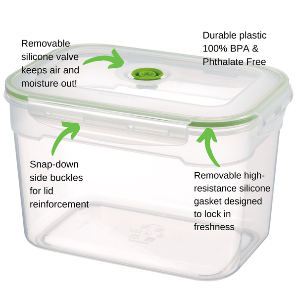 3.5 Liter - 3.7 Qt - 0.9 Gallon | Vacuum Seal Food Storage Container with Lid | Hand Held Vacuum Food System | Deep Freezer Food Storage Sealer | Quick Seal Marinator | Rectangular | Green Color - Lasting Freshness