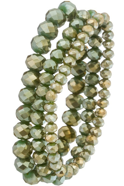 Beaded Bracelet Set Olive Green