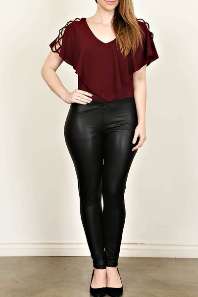 Curvy Girl Faux Leather Leggings Black