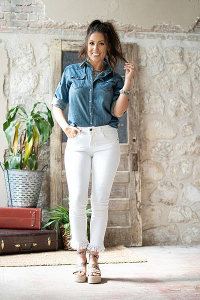 Ivory Frayed Bottom Skinny Jeans