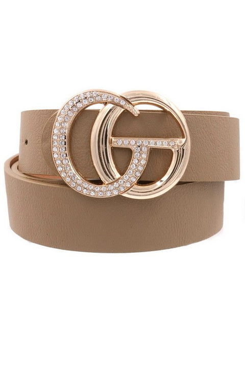 She's All That Rhinestone Belt Taupe