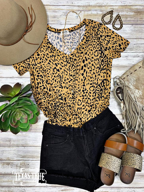 Leopard Casual V Neck Top