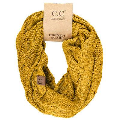 Cable Knit Infinity Scarf Mustard