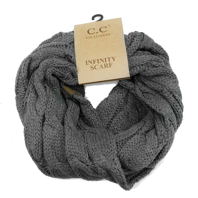 Cable Knit Infinity Scarf Charcoal