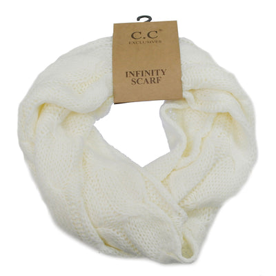 Cable Knit Infinity Scarf Ivory