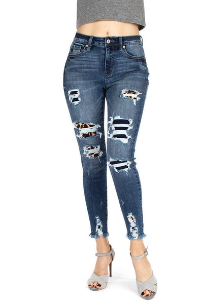 KC Leopard Patch Skinnies