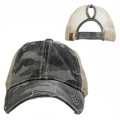 Camo Print Hi Ponytail Hat Grey