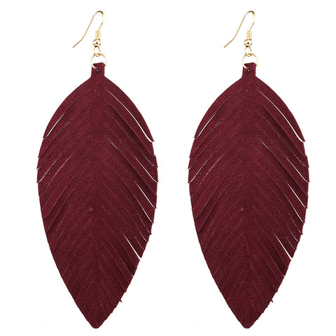 Leather Feather Earrings Burgundy