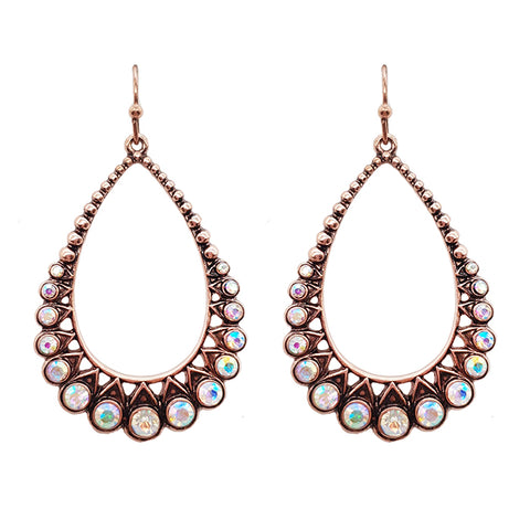 Teardrop Fan Rhinestone Bronze