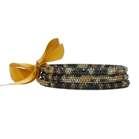 Rhinestone Bangle Set Leopard