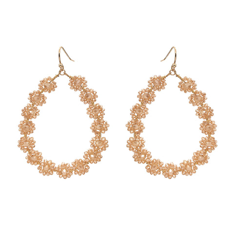 Flower Glass Bead Earrings Champagne