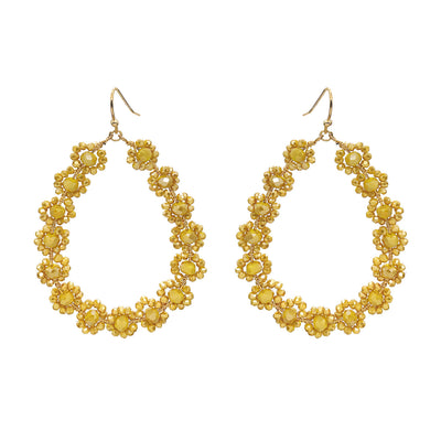 Flower Glass Bead Earrings Mustard