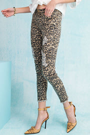 Leopard Distressed Ankle Pants