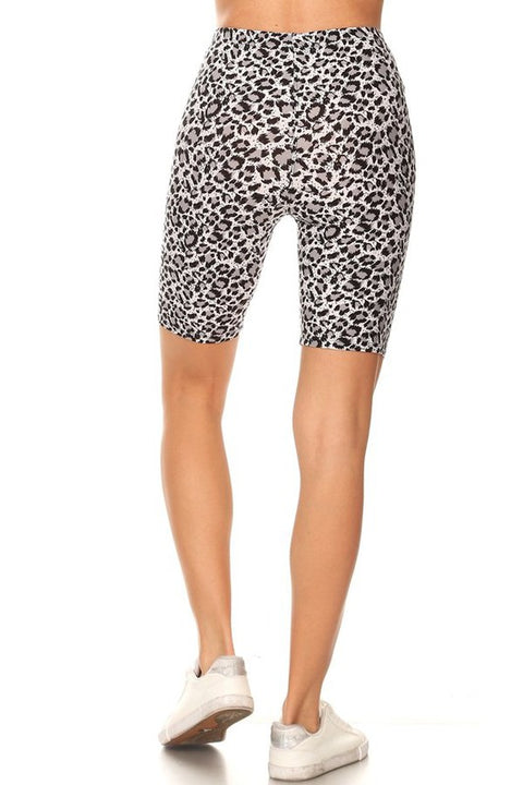 Biker Shorts Grey Leopard