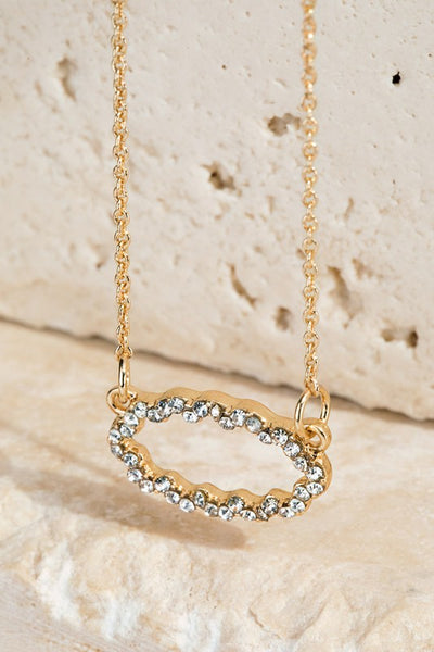 Pave Crystal Pendant Necklace Gold