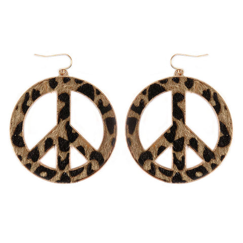 Peace Sign Earrings Leopard