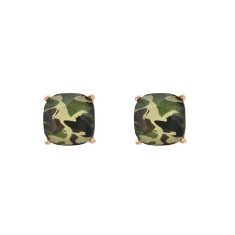 Camo Glass Stud Earrings