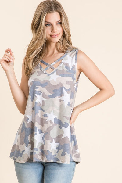 Camo Star Criss Cross Tank