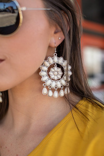 Concho Dangle Earrings White