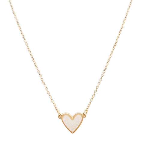 Druzy Heart Necklace White