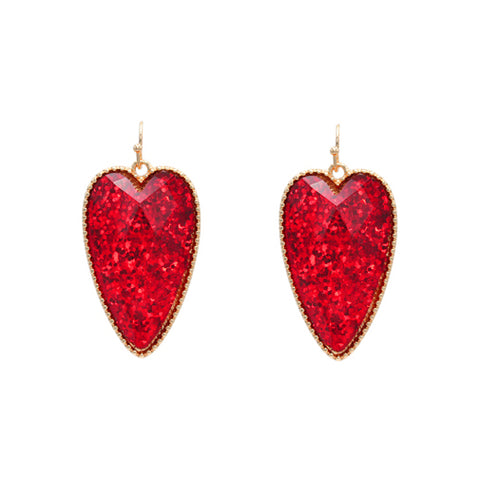 Glitter Heart Earrings Red