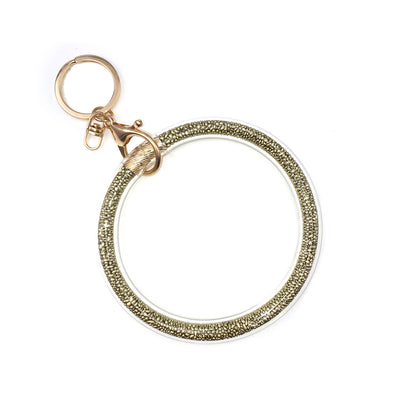 Glitter Seed Bead Keyring Gold