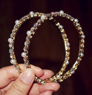 Gold Pearl Crystal Hoops