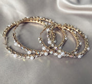 Gold Pearl Crystal XL Hoops