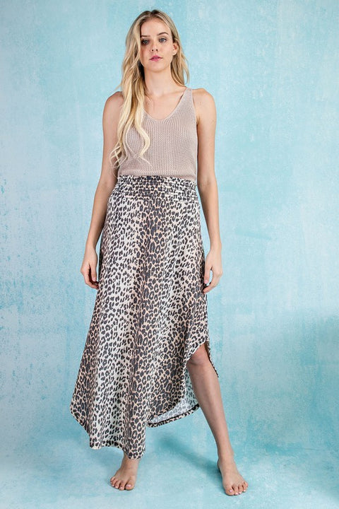 Smocked Maxi Skirt Leopard