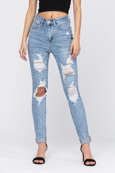 Destroyed Cuffed Skinny Jeans 8814