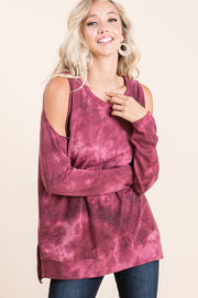 Tie Dye Cold Shoulder Top