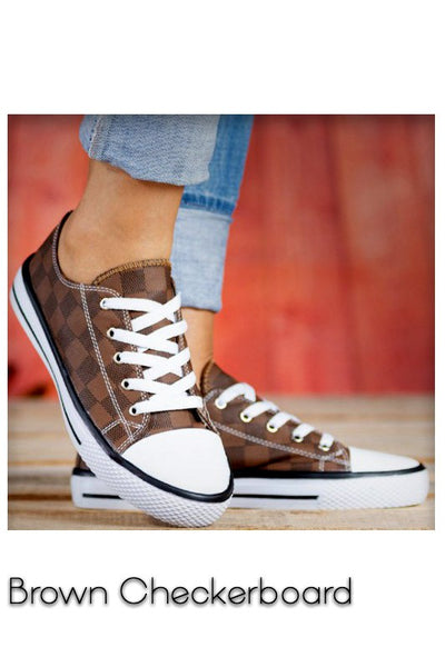 Brown Checkered Sneakers