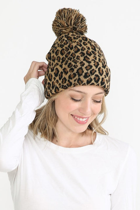 Knit Leopard Beanie Brown