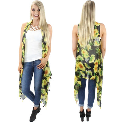 You Are My Sunflower Tassel Vest