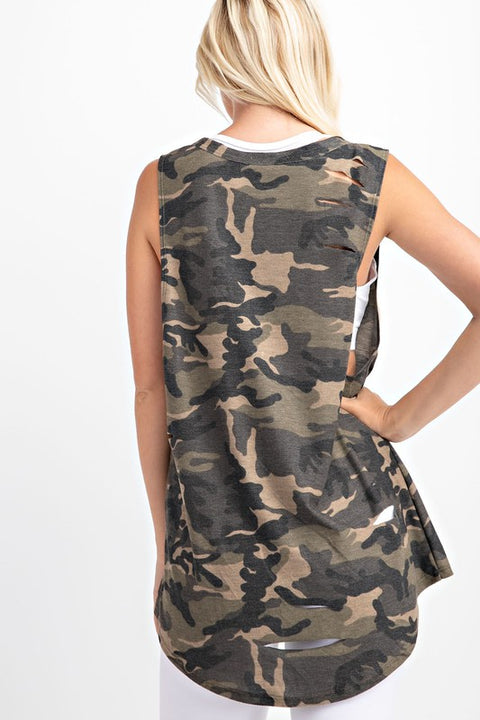 Distressed Camo Work Out Tank